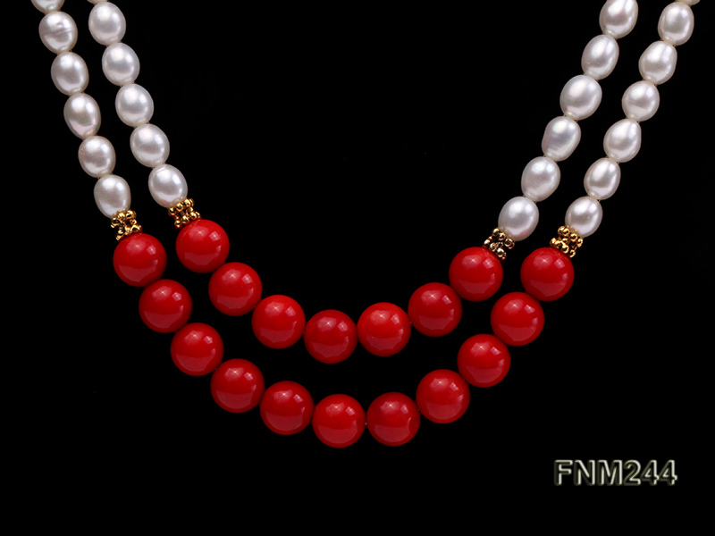 2 strand white oval freshwater pearl and coral necklace big Image 2