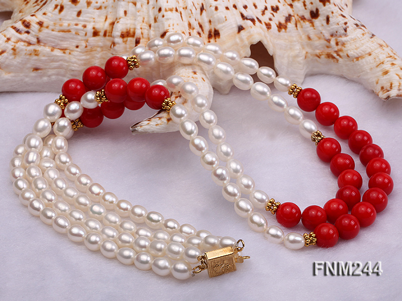 2 strand white oval freshwater pearl and coral necklace big Image 3