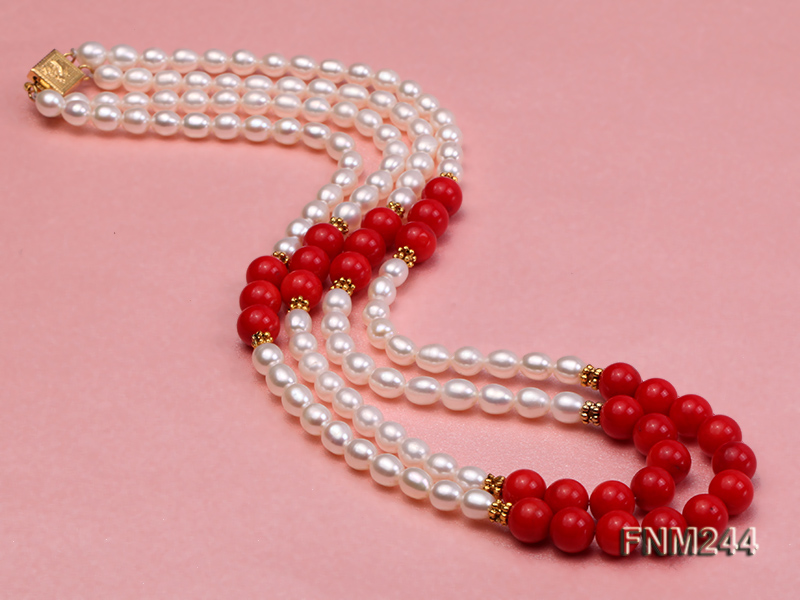 2 strand white oval freshwater pearl and coral necklace big Image 4