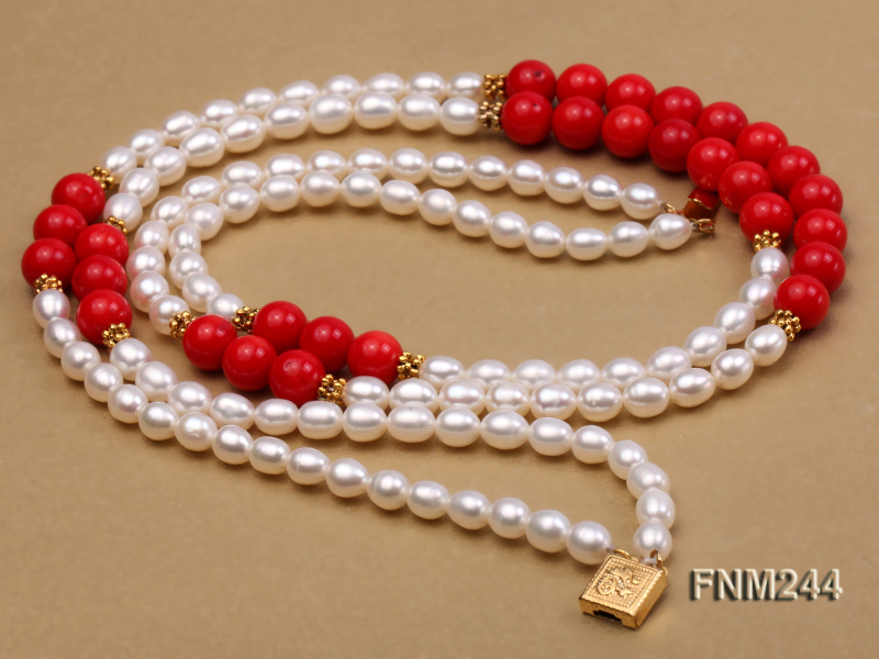 2 strand white oval freshwater pearl and coral necklace big Image 5