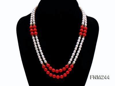 2 strand white oval freshwater pearl and coral necklace FNM244 Image 1