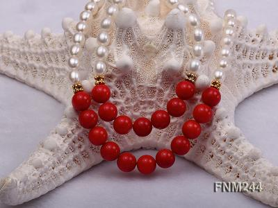 2 strand white oval freshwater pearl and coral necklace FNM244 Image 6