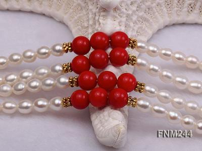 2 strand white oval freshwater pearl and coral necklace FNM244 Image 7