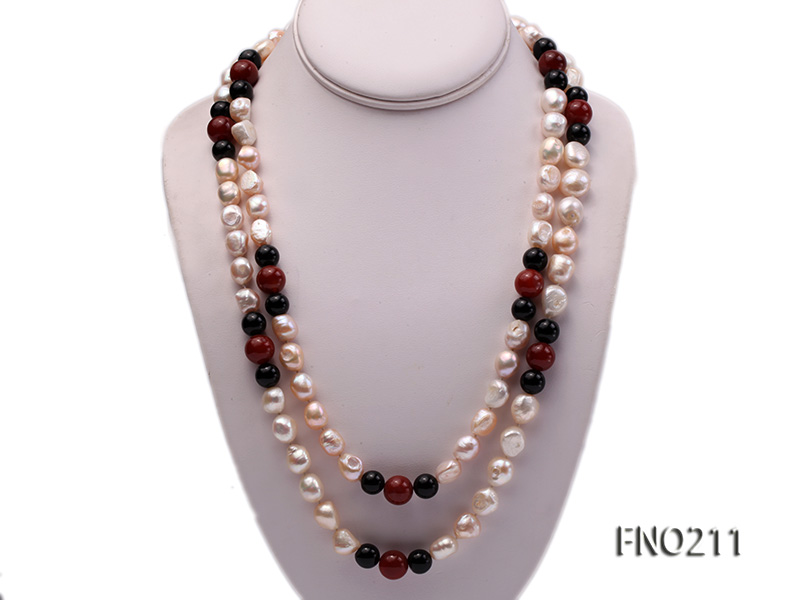 11-13mm natural pink baroque freshwater pearl with black and red agate necklace big Image 1