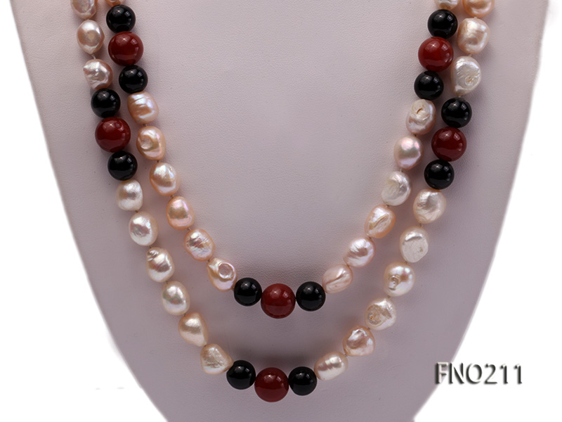 11-13mm natural pink baroque freshwater pearl with black and red agate necklace big Image 2