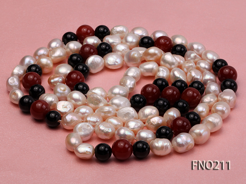 11-13mm natural pink baroque freshwater pearl with black and red agate necklace big Image 3