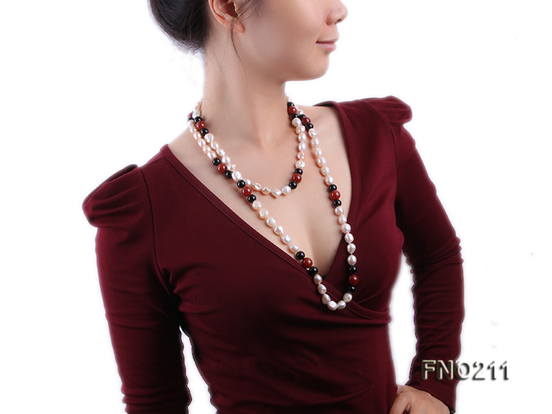 11-13mm natural pink baroque freshwater pearl with black and red agate necklace big Image 6