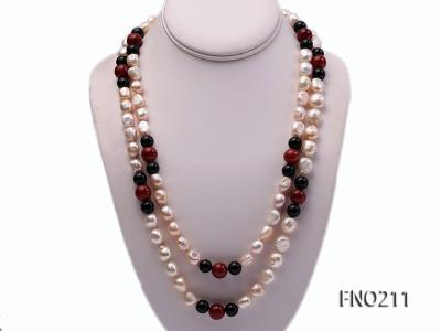 11-13mm natural pink baroque freshwater pearl with black and red agate necklace FNO211 Image 1