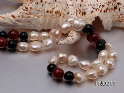 11-13mm natural pink baroque freshwater pearl with black and red agate necklace FNO211 Image 4