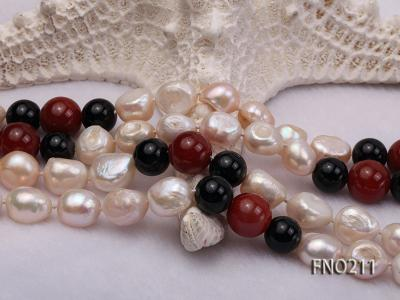 11-13mm natural pink baroque freshwater pearl with black and red agate necklace FNO211 Image 5