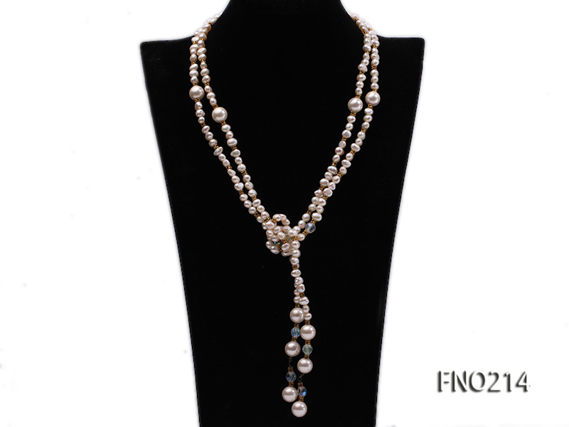 7-8mm white round FW pearl and alternated with jewelry accessories beads opera necklace big Image 1