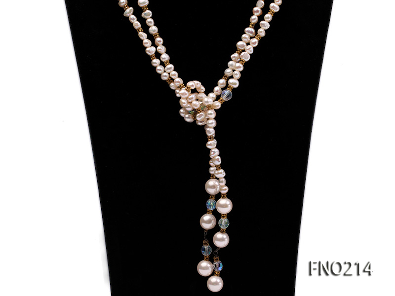 7-8mm white round FW pearl and alternated with jewelry accessories beads opera necklace big Image 2