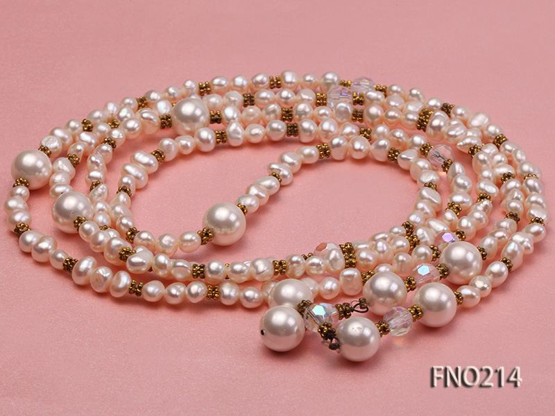 7-8mm white round FW pearl and alternated with jewelry accessories beads opera necklace big Image 3