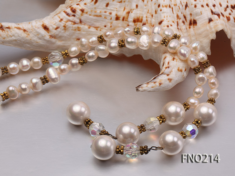 7-8mm white round FW pearl and alternated with jewelry accessories beads opera necklace big Image 5