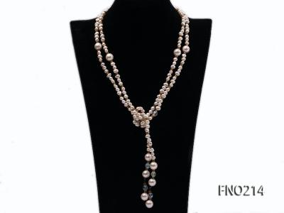 7-8mm white round FW pearl and alternated with jewelry accessories beads opera necklace FNO214 Image 1