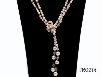 7-8mm white round FW pearl and alternated with jewelry accessories beads opera necklace FNO214 Image 2