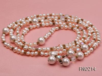 7-8mm white round FW pearl and alternated with jewelry accessories beads opera necklace FNO214 Image 3