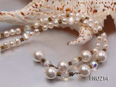 7-8mm white round FW pearl and alternated with jewelry accessories beads opera necklace FNO214 Image 5