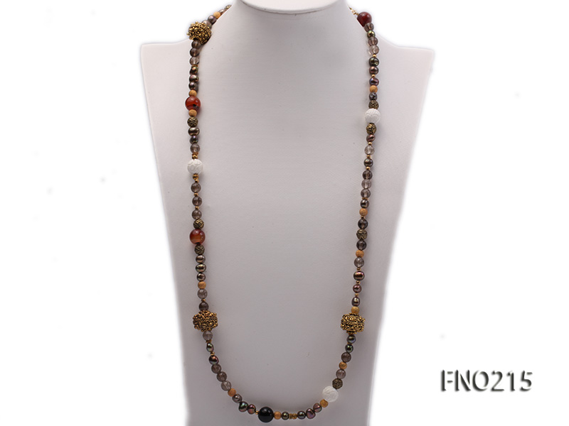7-8mm coffee freshwater pearl black agate and jewelry accessories necklace big Image 1
