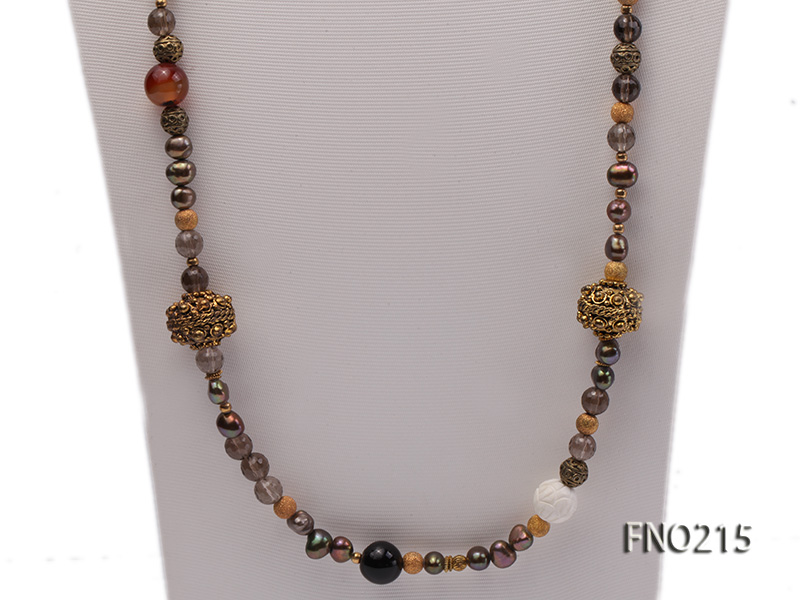 7-8mm coffee freshwater pearl black agate and jewelry accessories necklace big Image 2