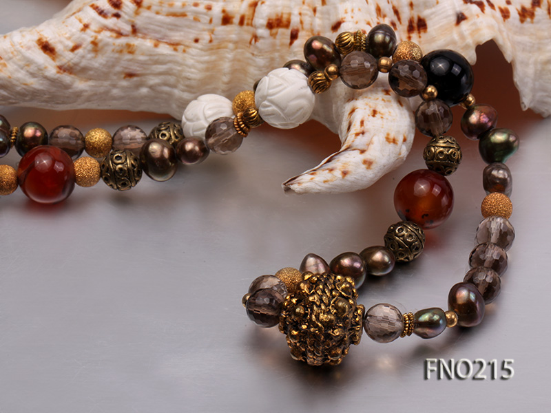 7-8mm coffee freshwater pearl black agate and jewelry accessories necklace big Image 4