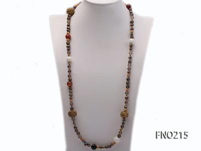 7-8mm coffee freshwater pearl black agate and jewelry accessories necklace FNO215 Image 1