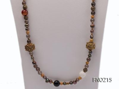 7-8mm coffee freshwater pearl black agate and jewelry accessories necklace FNO215 Image 2