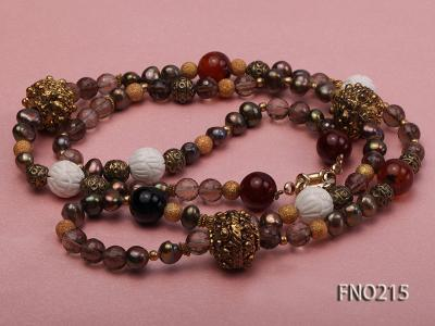 7-8mm coffee freshwater pearl black agate and jewelry accessories necklace FNO215 Image 3