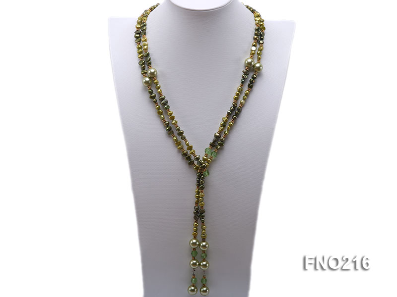 7-8mm green freshwater pearl green crystal and green shell beads and jewelry accessories necklace big Image 1