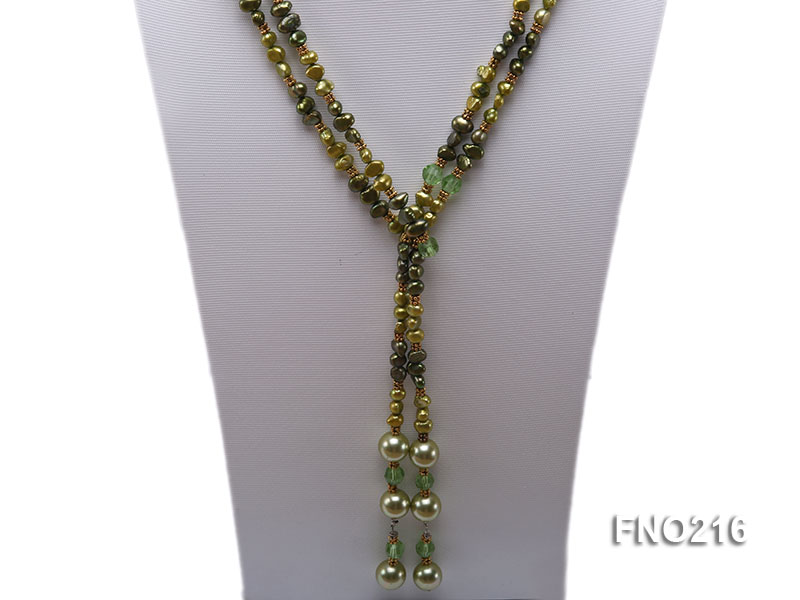 7-8mm green freshwater pearl green crystal and green shell beads and jewelry accessories necklace big Image 2