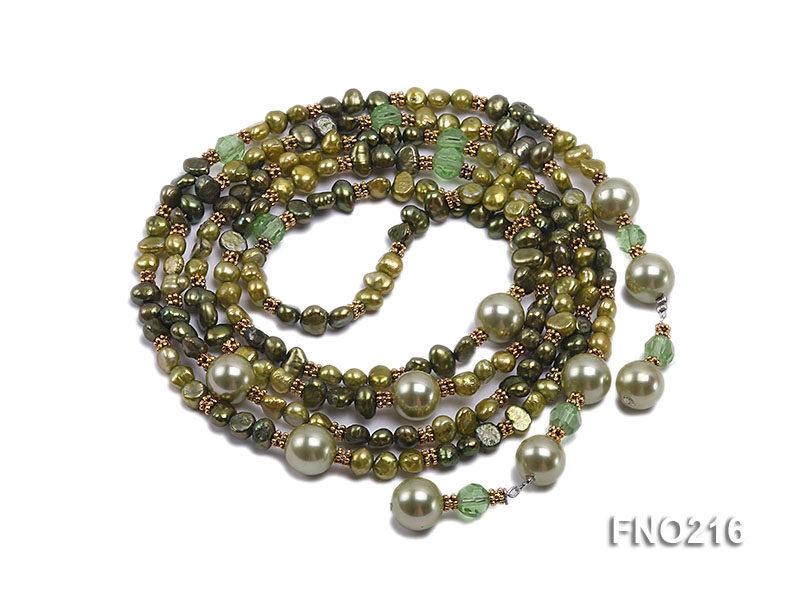 7-8mm green freshwater pearl green crystal and green shell beads and jewelry accessories necklace big Image 3