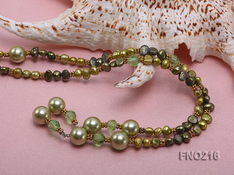 7-8mm green freshwater pearl green crystal and green shell beads and jewelry accessories necklace big Image 4