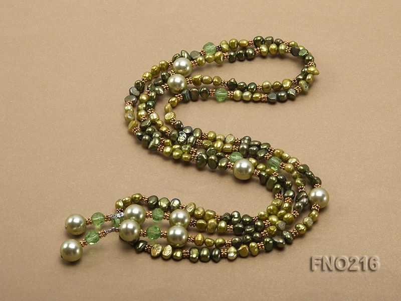 7-8mm green freshwater pearl green crystal and green shell beads and jewelry accessories necklace big Image 5