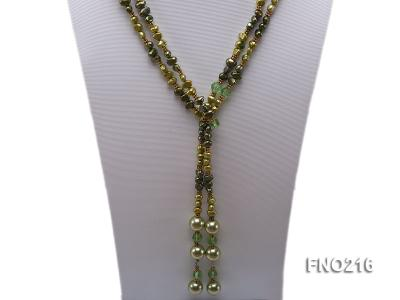 7-8mm green freshwater pearl green crystal and green shell beads and jewelry accessories necklace FNO216 Image 2