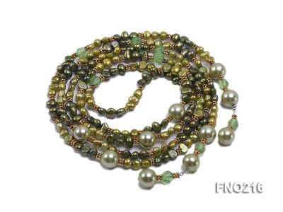 7-8mm green freshwater pearl green crystal and green shell beads and jewelry accessories necklace FNO216 Image 3