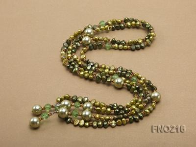 7-8mm green freshwater pearl green crystal and green shell beads and jewelry accessories necklace FNO216 Image 5
