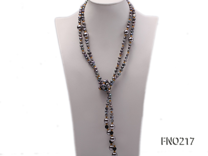 7-8mm black flat freshwater pearl with seashell pearl beads opera necklace big Image 3