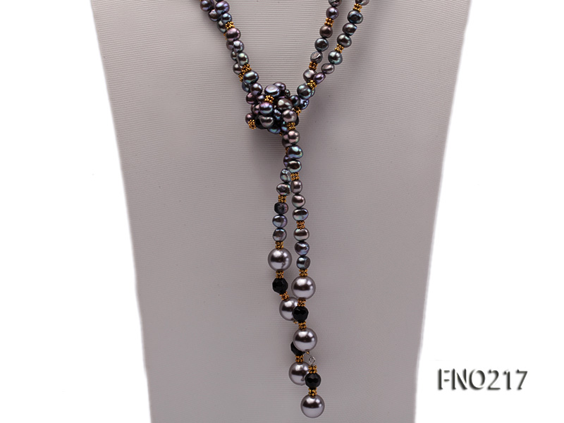 7-8mm black flat freshwater pearl with seashell pearl beads opera necklace big Image 4