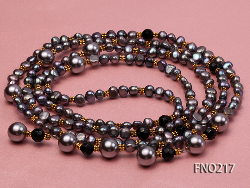 7-8mm black flat freshwater pearl with seashell pearl beads opera necklace big Image 5