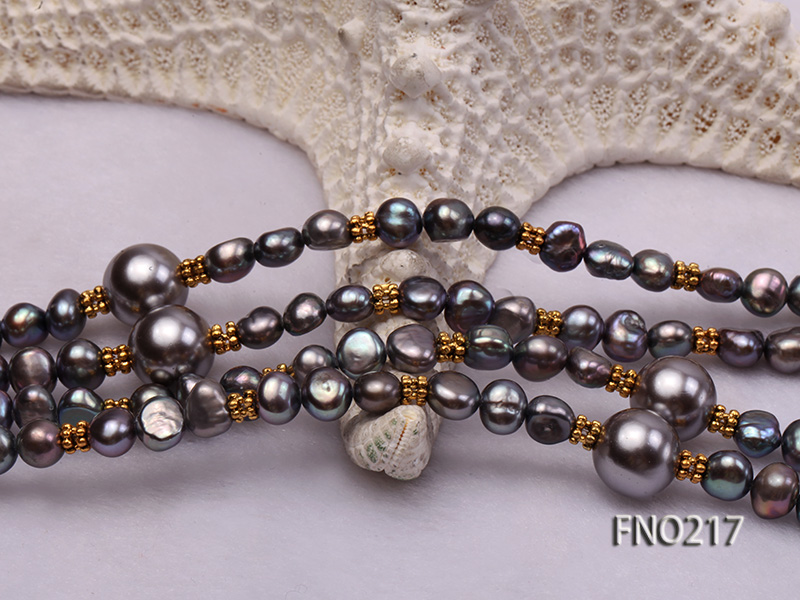7-8mm black flat freshwater pearl with seashell pearl beads opera necklace big Image 6