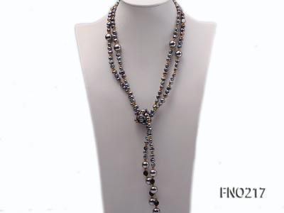 7-8mm black flat freshwater pearl with seashell pearl beads opera necklace FNO217 Image 3