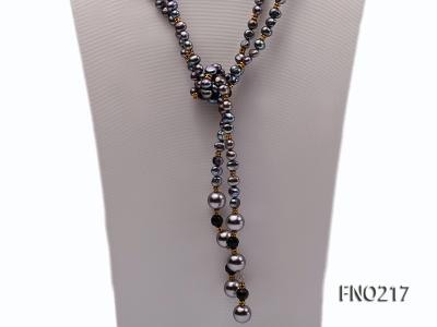 7-8mm black flat freshwater pearl with seashell pearl beads opera necklace FNO217 Image 4