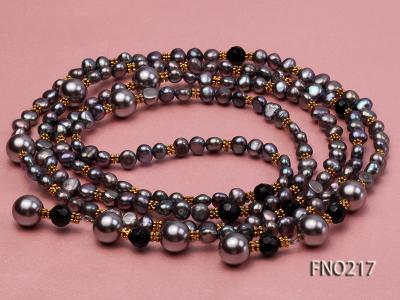 7-8mm black flat freshwater pearl with seashell pearl beads opera necklace FNO217 Image 5