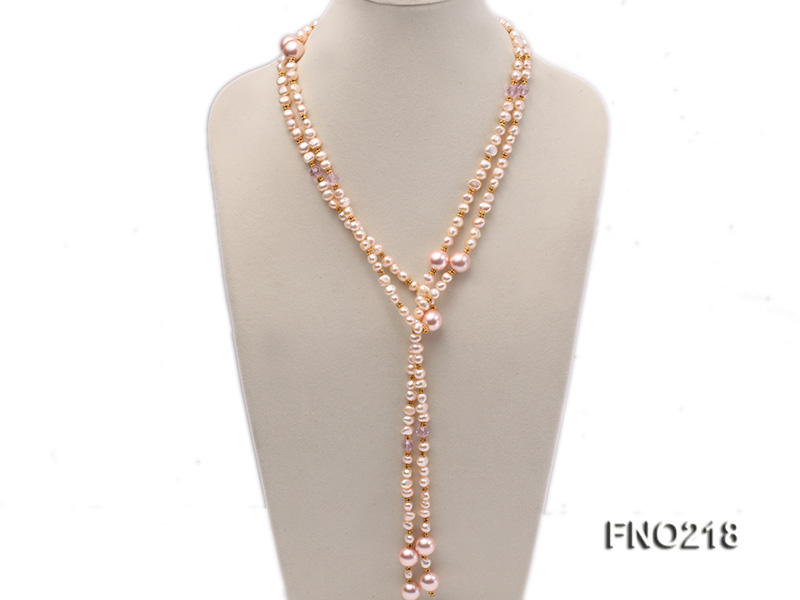 7-8mm natural pink flat freshwater pearl with seashell pearl beads necklace big Image 1