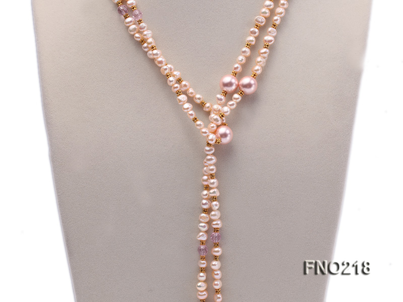 7-8mm natural pink flat freshwater pearl with seashell pearl beads necklace big Image 2