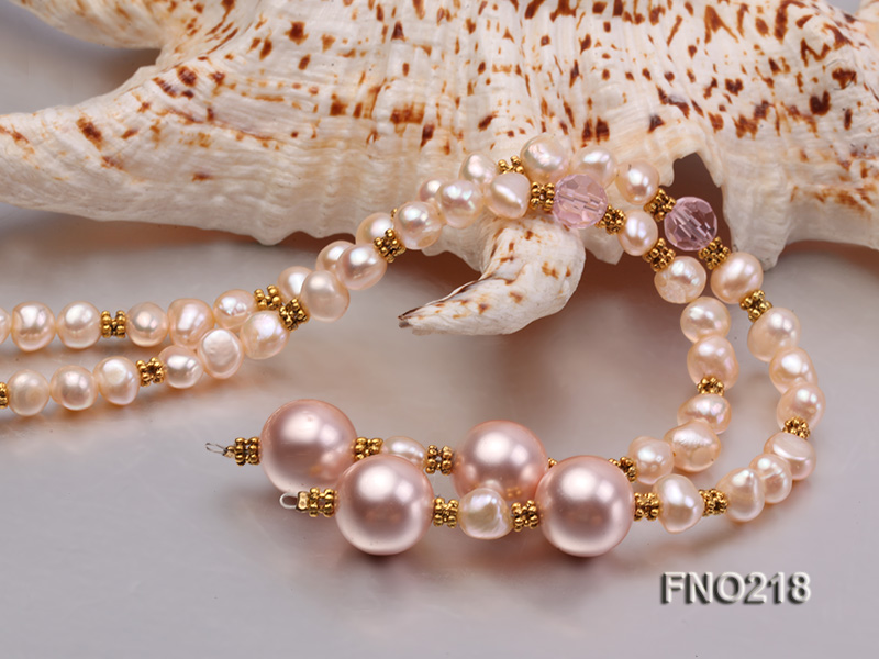 7-8mm natural pink flat freshwater pearl with seashell pearl beads necklace big Image 4