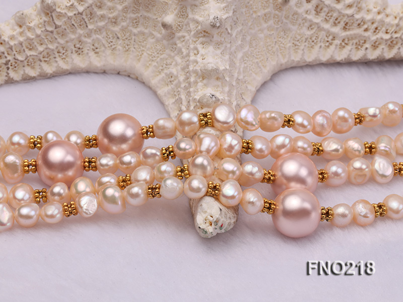 7-8mm natural pink flat freshwater pearl with seashell pearl beads necklace big Image 5