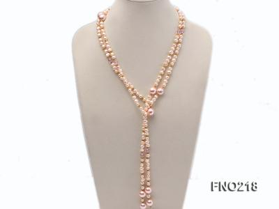 7-8mm natural pink flat freshwater pearl with seashell pearl beads necklace FNO218 Image 1