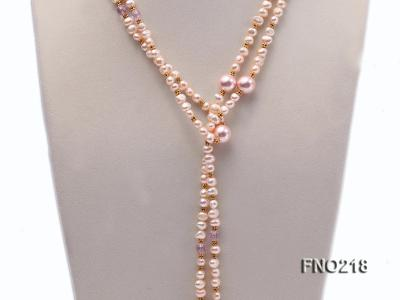 7-8mm natural pink flat freshwater pearl with seashell pearl beads necklace FNO218 Image 2
