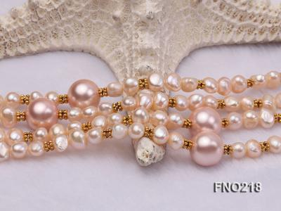 7-8mm natural pink flat freshwater pearl with seashell pearl beads necklace FNO218 Image 5